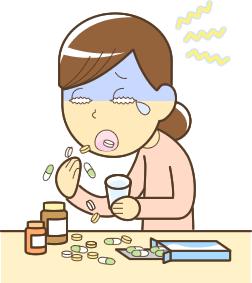 頭痛で薬漬けになっている人のイラスト